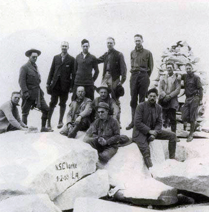 archival photo of climbers on Mt. Whitney